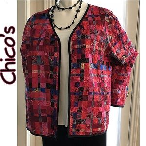 Chico's Asian Open Blazer Jacket Sz 3 (16)